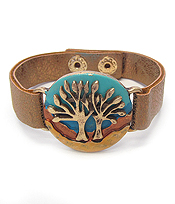 VINTAGE RUSTIC METAL LEATHER BAND BRACELET - TREE OF LIFE