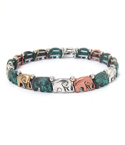 MULTI ELEPHANT LINK STRETCH BRACELET