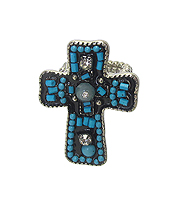 CRYSTAL AND SEED BEAD CROSS STRETCH RING