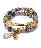 MULTI GENUINE STONE MIX DOUBLE STRETCH BRACELET SET - KEY
