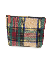 TARTAN COSMETIC POUCH - 100% POLYESTER