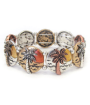 VINTAGE METAL STRETCH BRACELET - PALM TREE