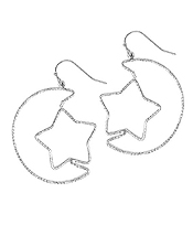 BRASS WIRE MOON AND STAR EARRING