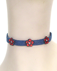 ROSE AND DENIM CHOKER NECKLACE