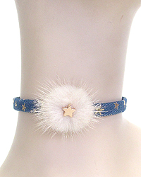 FUR AND DENIM CHOKER NECKLACE