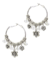 FLOWER CHARM DANGLE HOOP EARRING