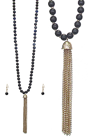 FINE CHAIN TASSEL AND MULTI BALL BEAD LONG NECKLACE SET