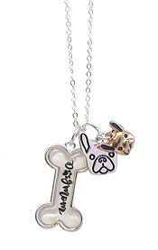 PET LOVERS INSPIRATION MULTI CHARM CABOCHON PENDANT NECKLACE - DOG MOM