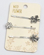 BOHO STYLE METAL TEXTURED SET OF THREE HAIR PINS