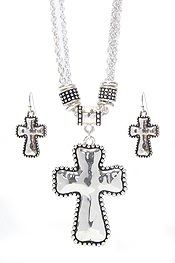 HAMMERED METAL CROSS NECKLACE SET