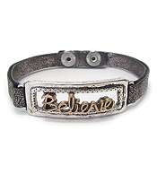 RELIGIOUS INSPIRATION VINTAGE METAL LEATHER BAND BRACELET - BELIEVE