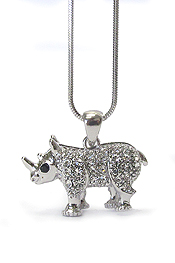 WHITEGOLD PLATING CRYSTAL DECO RHINO NECKLACE