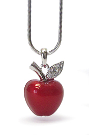WHITEGOLD PLATING EPOXY AND CRYSTAL STUD APPLE PENDANT NECKLACE