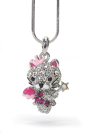 WHITEGOLD PLATING CRYSTAL LOVE CAT PENDANT NECKLACE