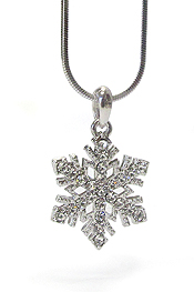 WHITEGOLD PLATING CRYSTAL SNOWFLAKE PENDANT NECKLACE