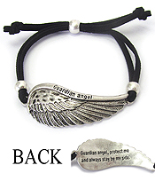 RELIGIOUS INSPIRATION MESSAGE PULL TIE BRACELET - GUARDIAN ANGEL