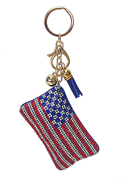 MULTI CRYSTAL LARGE PUFFY CUSHION KEY CHAIN - AMERICAN FLAG