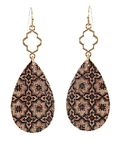 MOROCAN PATTERN CORK TEARDROP EARRING