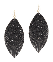 FAUX LEATHER GLITTER DOUBLE LAYER FRINGE EARRING