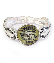 RELIGIOUS THEME AND UTENSIL SPOON TEXTURED STRETCH BRACELET - LORD'S PRAYER