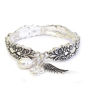 ANGEL WING CHARM SPOON UTENSIL TEXTURED STRETCH BRACELET