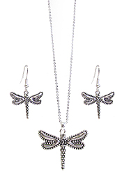 DRAGONFLY PENDANT NECKLACE SET
