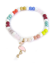MULTI BEAD STRETCH BRACELET - FLAMINGO