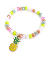 MULTI BEAD STRETCH BRACELET - PINEAPPLE