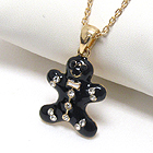PREMIER ELECTRO PLATING CRYSTAL DECO GINGERBREAD MAN PENDANT NECKLACE