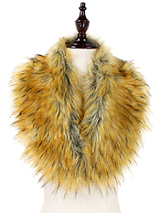 FAUX FUR COLLAR INFINITY SCARF - 100% POLYESTER