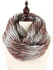 STRIPED FAUX FUR INFINITY SCARF - 100% POLYESTER