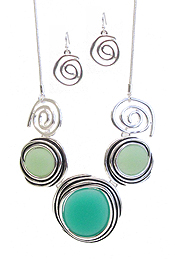SEAGLASS AND SWIRL LINK NECKLACE SET