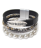 RELIGIOUS INSPIRATION PEARL AND CRYSTAL MULTI LAYER LEATHER WRAP MAGNETIC BRACELET - TRULY BLESSED