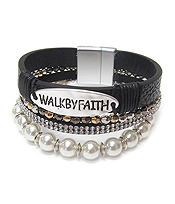 RELIGIOUS INSPIRATION PEARL AND CRYSTAL MULTI LAYER LEATHER WRAP MAGNETIC BRACELET - WALK BY FAITH