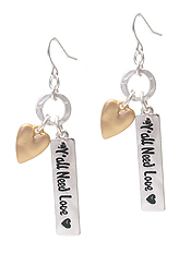 INSPIRATION MESSAGE BAR DROP EARRING - YOU ALL NEED LOVE