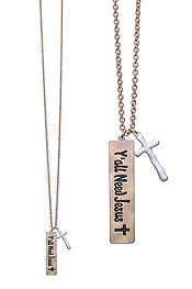 INSPIRATION MESSAGE BAR DROP LONG NECKLACE - YOU ALL NEED JESUS