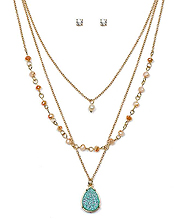 TEARDROP DRUZY AND PEARL PENDANT TRIPLE LAYER NECKLACE SET
