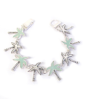 MULTI PALM TREE SEA GLASS MAGNETIC BRACELET