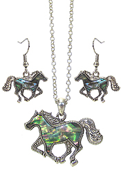 ABALONE HORSE PENDANT NECKLACE SET