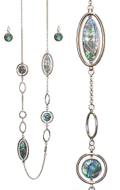ABALONE DISC AND RING MIX LONG NECKLACE SET