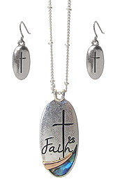RELIGIOUS INSPIRATION ABALONE PENDANT NECKLACE SET - FAITH