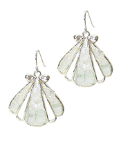 SEA GLASS SHELL EARRING