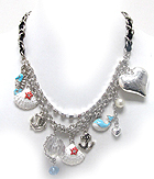DESIGNER STYLE PUFF HEART AND EPOXY SEA LIFE THEME CHARM WITH FABRIC CHAIN NECKLACE EARRING SET
