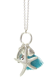 STARFISH AND TASSEL LONG NECKLACE