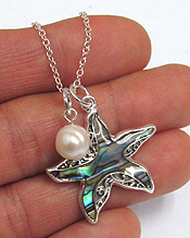 ABALONE STARFISH AND FRESHWATER PEARL DROP NECKLACE