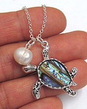 ABALONE TURTLE AND FRESHWATER PEARL DROP NECKLACE