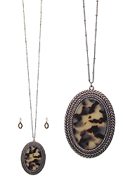 ORGANIC CELLULOSE OVAL PENDANT LONG NECKLACE SET - TORTOISE
