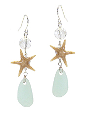 STARFISH AND SEA GLASS DROP EARRING