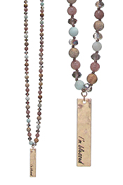 MULTI FACET GLASS BEAD LONG NECKLACE - I AM BLESSED