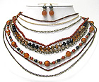 MULTI LAYER GLASS STONE BEADS AND MIXED METAL CHAIN NECKLACE EARRING SET